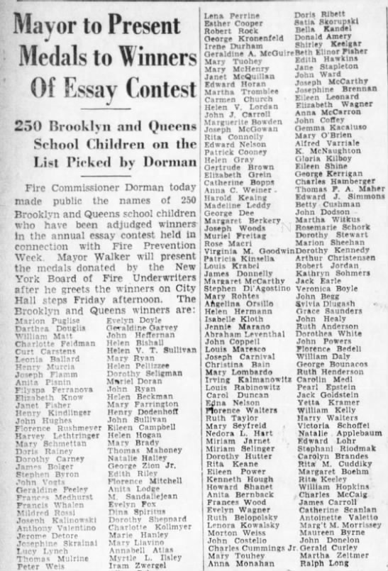 George Bounacos one of 250 winners of student essay contest in NY in 1930 -