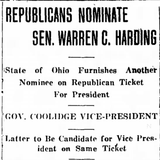 Warren G. Harding Nominated to the Republican Ticket -