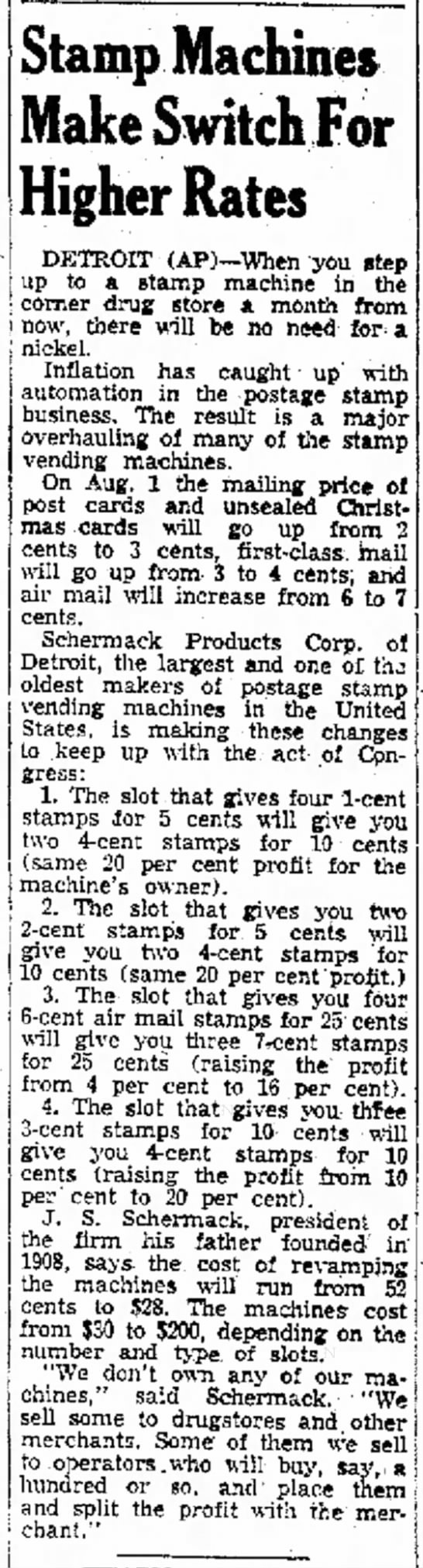Schermack Products Co 9July1958 Newport Daily News -