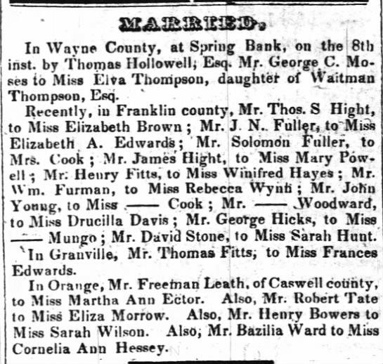 Marriages from Raleigh Register 20 Jan 1846, Solomon Fuller -