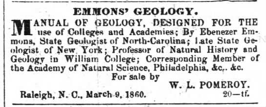Emmons 29 January 1861 Semi-Weekly Standard (Raleigh, NC) p.4. -