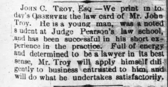 John C Troy Lawyer Raleigh NC 1879 - Newspapers com