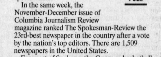 The Spokesman-Review named one of the best 25 newspapers in the country -