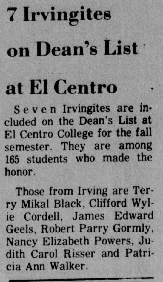 Judy on Dean's List  2/21/68 -