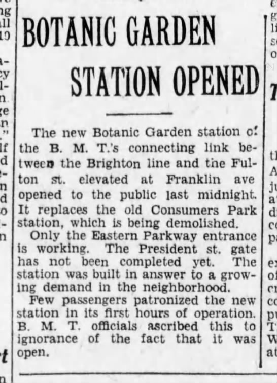 Botanic Garden Station opens, October 1, 1928 -