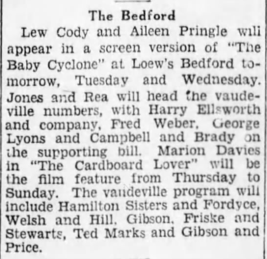 Bedford Theater, Brooklyn eagle Oct. 7, 1928. Hamilton Sisters and Fordyce. -