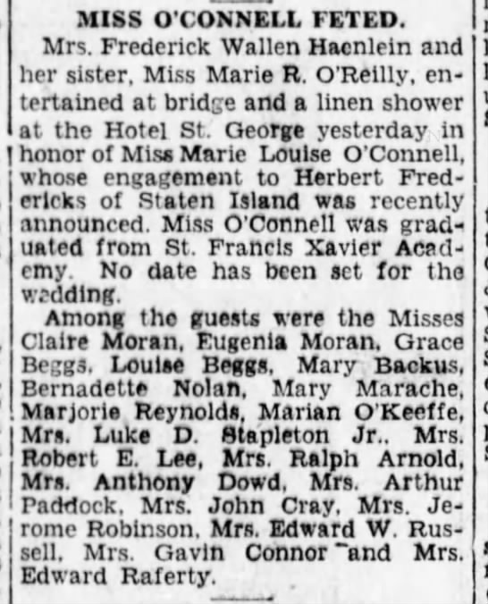 Linen Shower for Marie Louise O'Connell before her marriage to Herbert Fredericks -