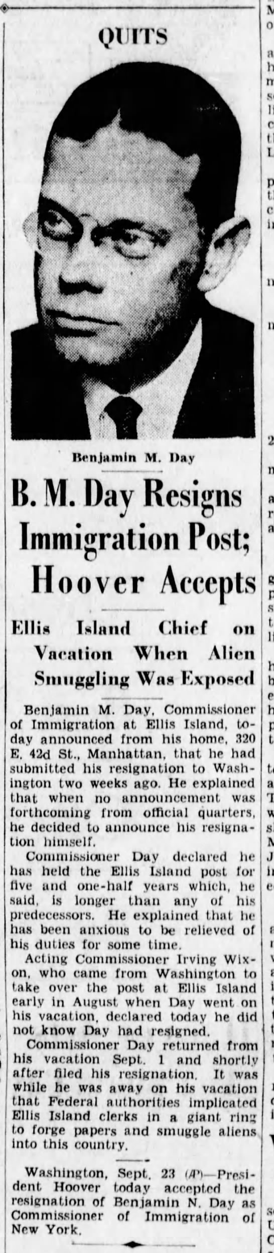 Commissioner Day Resigns; p3, The Brooklyn Daily Eagle, September 23, 1931 -