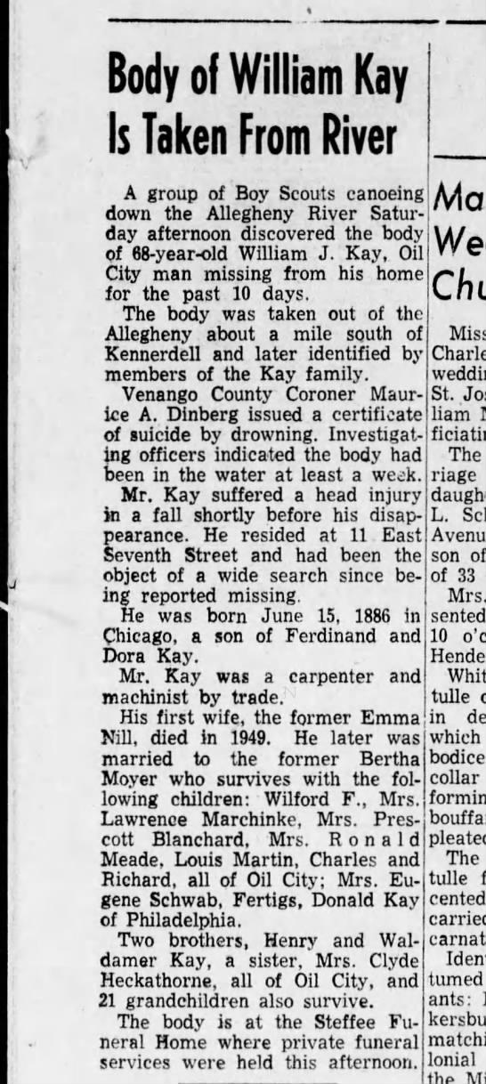 WILLIAM J KAY BODY FOUND 1955 - Newspapers com