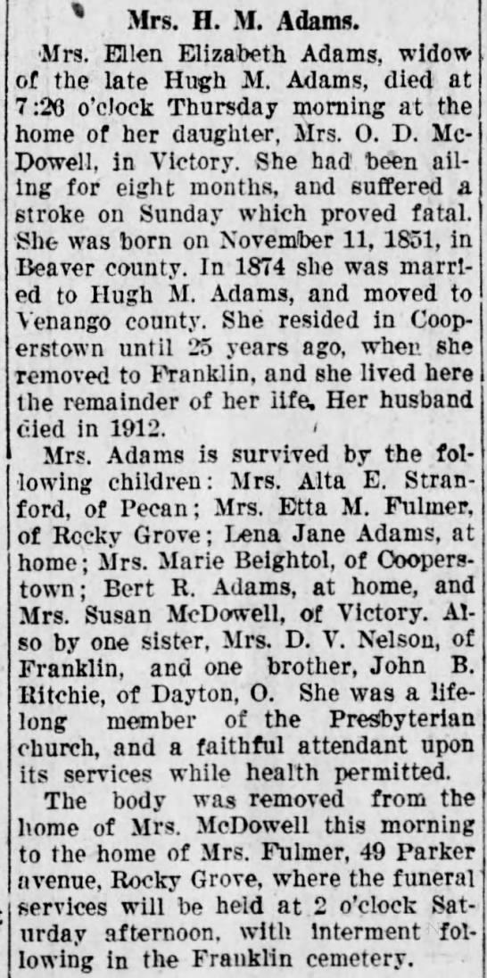 Ellen Elizabeth Adams death 1927 -