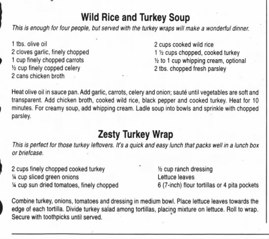 Turkey leftover recipes - Wild Rice and Turkey Soup 77ws is enough for...