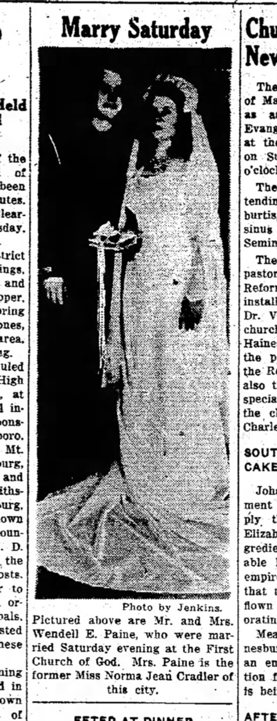 Tuesday, August 19, 1947 Wendell Paine wedding Daily Mail Hagerstown -
