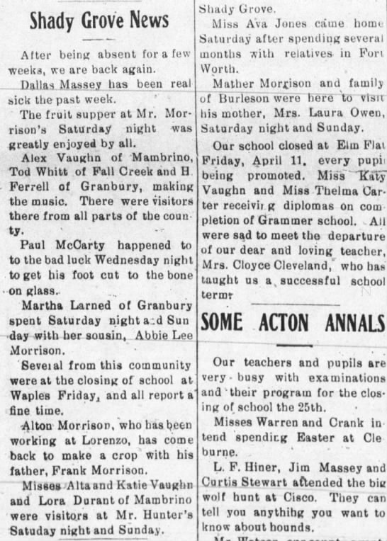 Alex, Alta and Katy mentioned in 1924 article -