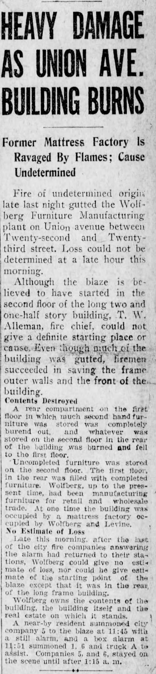 Wolfberg  Levine manufacturing plant wrecked by fire-3 April 1928 -