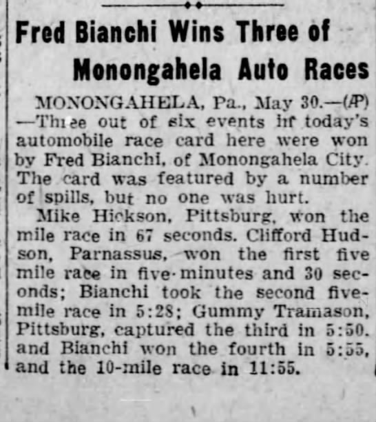Fred Bianchi wins 3 auto races The Daily Republican  31 may 1928 -