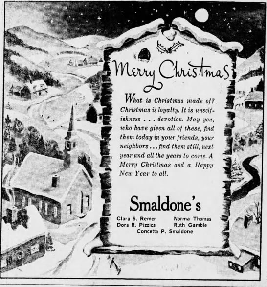 Smaldone's Christmas ad 23 december 1950 -