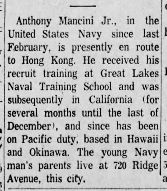 Anthony Mancini military - 25 Feb 1959, Daily Republican, Monongahela, PA - Anthony Mancini Jr., in the United States Navy...