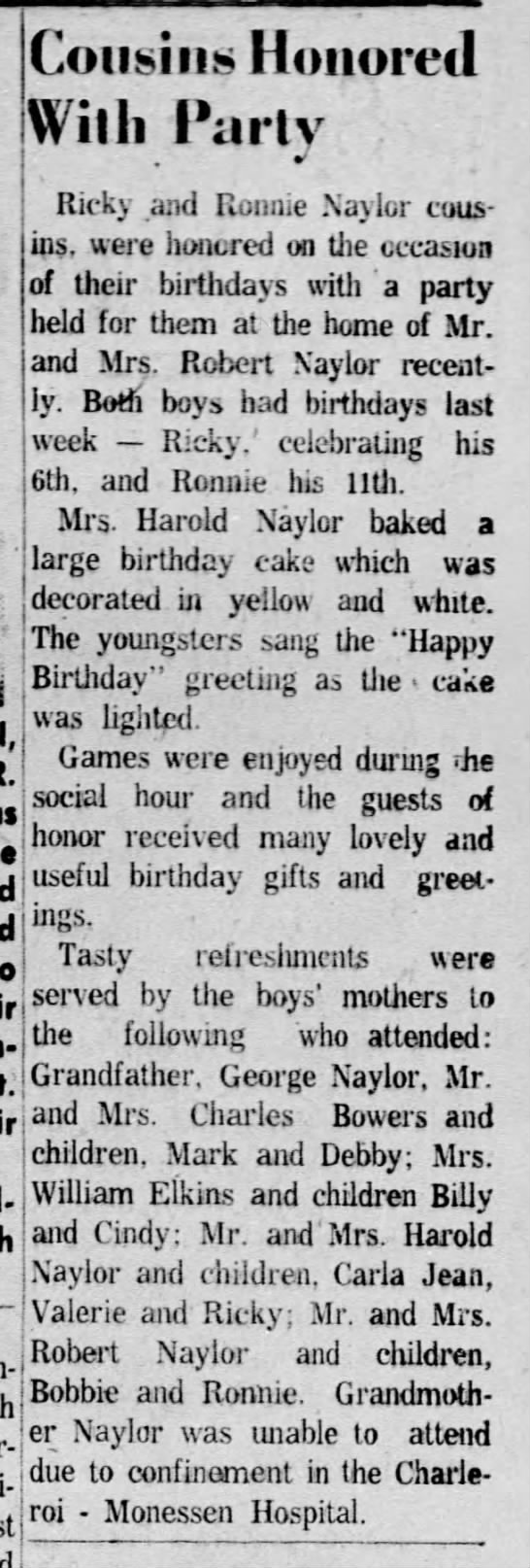 Cousins Honored With Party 20 Oct 1959 -