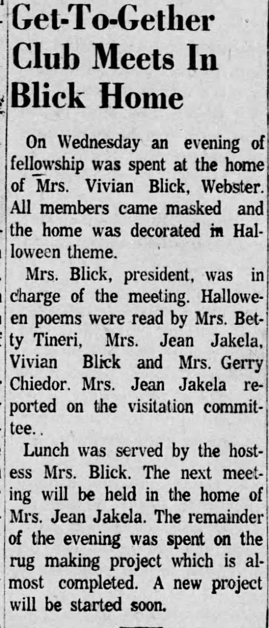 3Nov1959 Vivian HICKEY Blick host get-to-gether party -