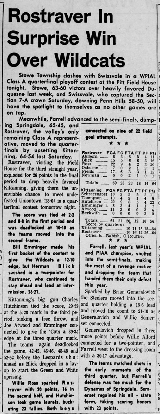 7Mar1960 Rostraver Moves to Quarter Finals by Dumping Kittaning 66-54 - Spar- Rostraver In Surprise Win Over Wildcats...
