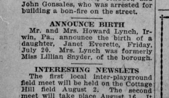 Janet Lynch birth announcement -