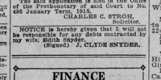 J. Clyde Snyder wife debts -