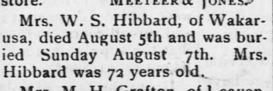 Eliza Hibbard death notice The Osage County Chronicle 8-11-1904 -