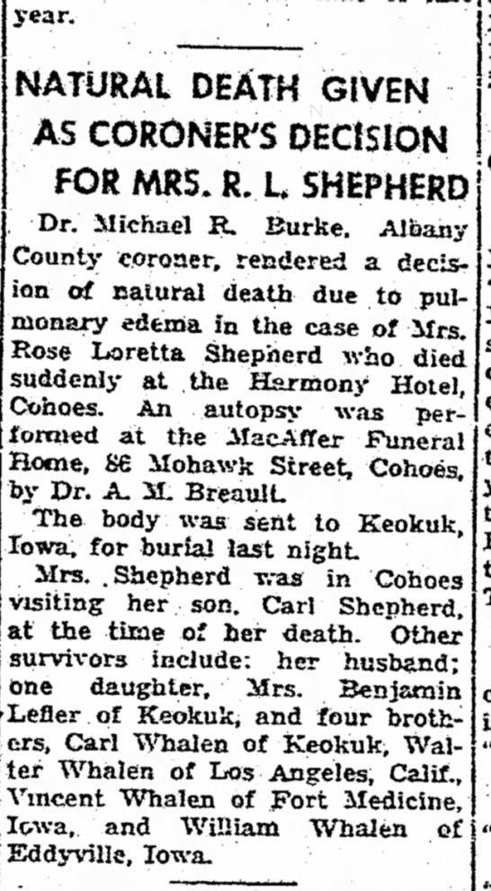Whalen, rose (Rose Shepherd) obituary -