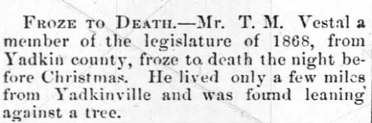 Death of T. M. Vestal -
