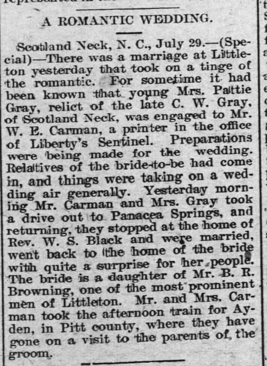 Pattie Browning Gray's 2nd wedding announcment 1896 -
