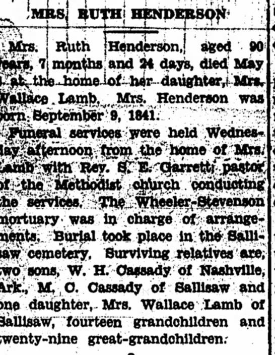 Ruth Blevins Henderson Obit -