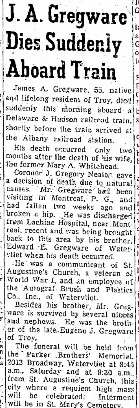 J.A. Gregware Dies Aboard Train  4/30/52 newspaper -
