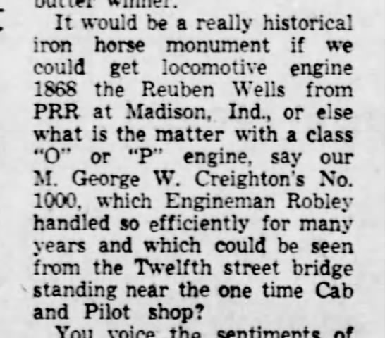 RR Engineman Robley's locomotive-Altoona Tribune, PA-8 Oct 1955-p4 -