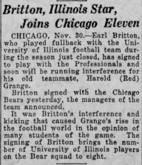 Britton, Illinois Star, Joins Chicago Eleven -