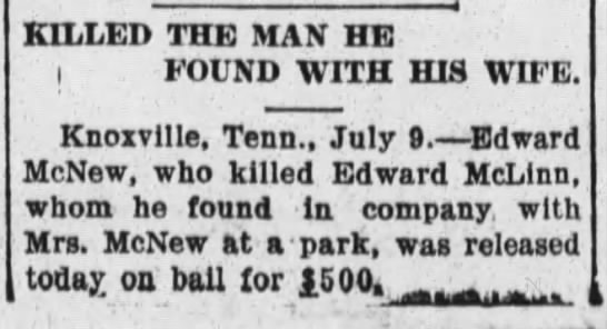 McNew, Edward-artilce on murder; The Raleigh Times, July 9, 1907 page 5 -