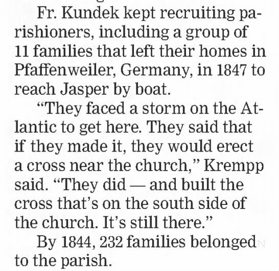 Father Kundek recruited German families to Jasper -