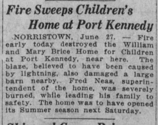 Port kennedy children's home fire 6-27-1923 -