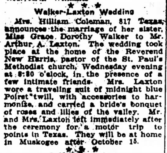 Marriage of Grace Dorothy Walker and Arthur A Laxton -