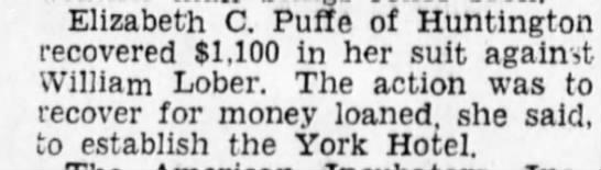 Elizabeth C Puffe recovers money -