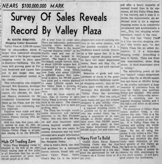 Survey of Sales Reveals Record by Valley Plaza -