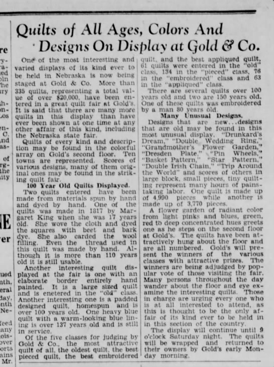 Sept 23, 1931, Quilt display at Golds, Lincoln Star. 335 quilts -