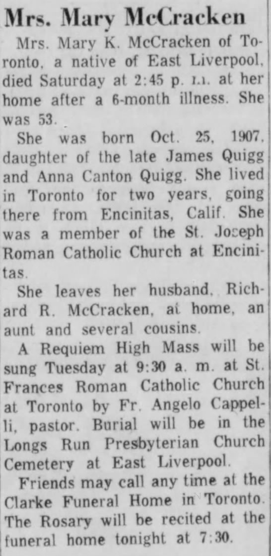 Mary Quigg McCracken obit - 21 Nov 1960 - East Liverpool, Ohio - The Evening Review -