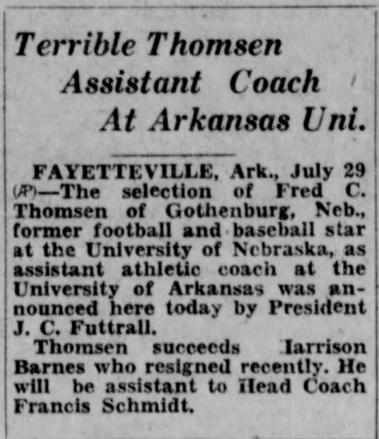 1927 Fred Thomsen to Arkansas as assistant coach -