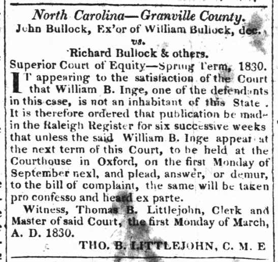 William Bullock Inge estate legal proceedings. Spring 1830. The Raleigh Register, 20 May 1830. -