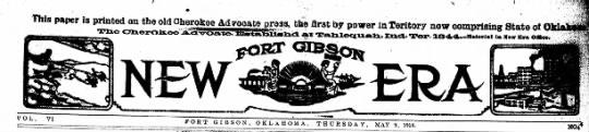 Fort Gibson OK - paper is printed on the old Cherokee Adrooate...
