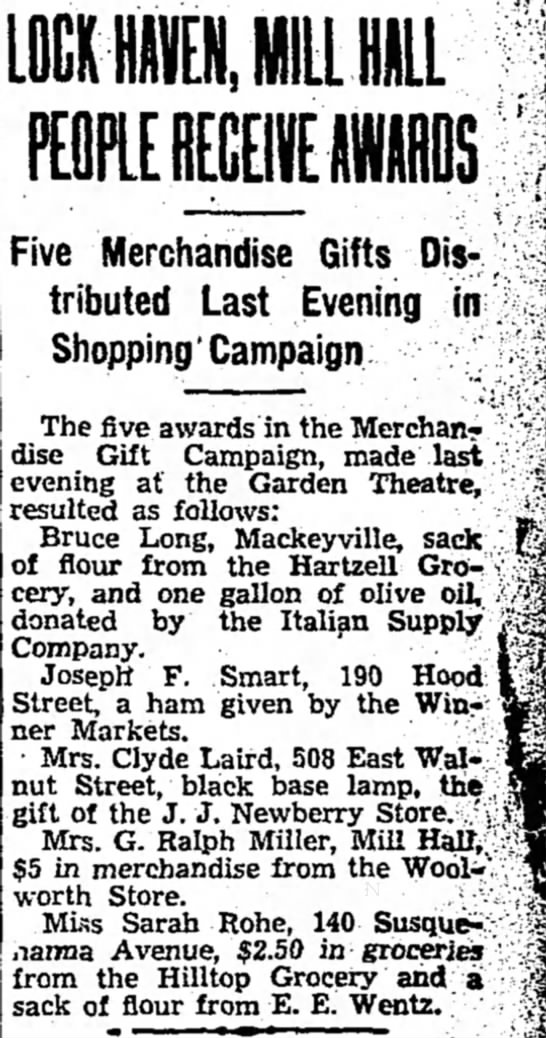 Wentz, E. E. gives Merchant Gift 1935 - LOCKlijilLL Five Merchandise Gifts Distributed...
