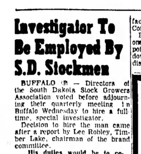 Lee Gordon Robley is chairman of S.D. Stockmen-The Daily Republic-Mitchell, SD-p.12-7 Sep 1960 - b? ftstigilor Ti Be Employed By S.D. Siocknei...