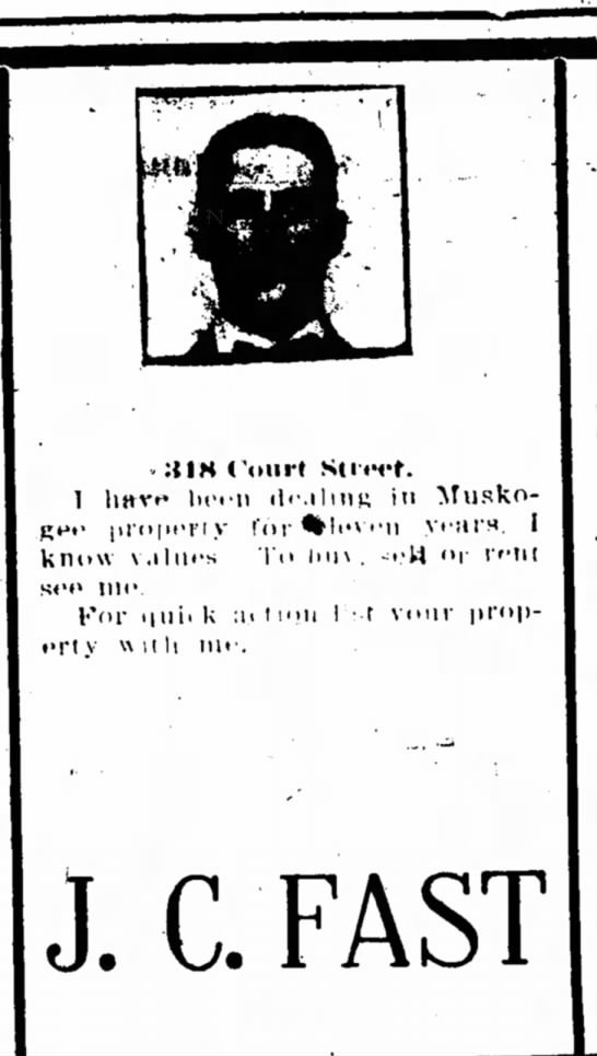 J.C. Fast advertisement in Muskogee Times-Democrat 07 Mar 1910 - . :{IM Coin* Scierf. 1 liHve liciii dciliiii;...