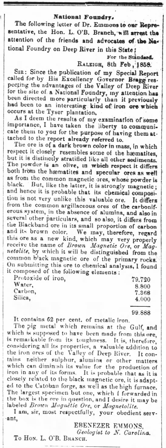 Emmons 17 February 1858 The Weekly Standard (Raleigh, NC) p.1. -