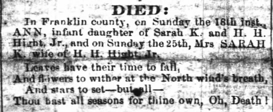 Died (31 Mar 1860, The Raleigh Register, Raleigh, NC) -